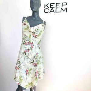 Diesel Sundress Yellow Cowl Neck Floral High Low S